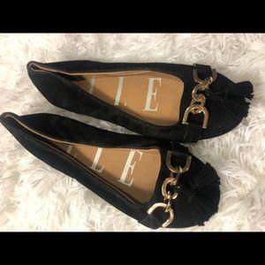 Elle Ballet Flats Suede Leather Gold And Black